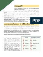 Reglas de acentuación de monosílabos y tilde diacrítica