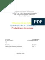influencia de las actividades económicas en la diversidad productiva de venezuela, ensayo