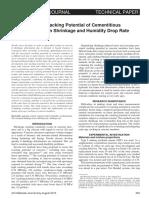Caracterización del potencial de agrietamiento de las mezclas de cemento en función de la tasa de contracción y caída de humedad