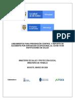 Lineamientos para prevencion control y reportede accidente por exposición ocupacional al SARSCoV-2 (COVID-19) en Instituciones de Salud (1)