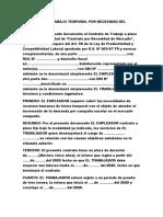 Contrato de Trabajo Temporal Por Necesidad Del Mercado en Blanco
