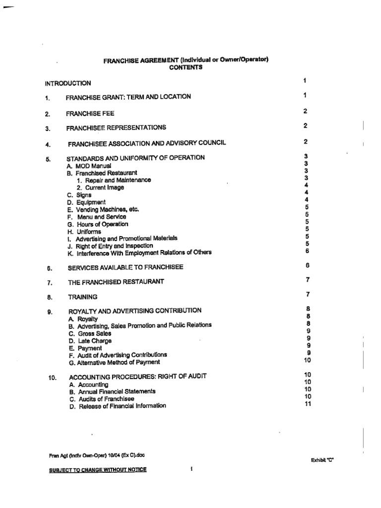Bk franchise agreement falaconquin