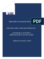 FUNCION Y TIPOLOGIA DE LA EVALUACION