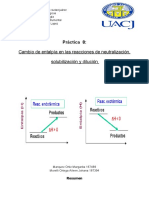 Cambio de entalpía en reacciones de dilucion, neutralización y Solubilizacion