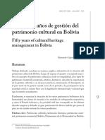 Cincuenta años de gestión del Patrimonio Cultural de Boliva