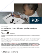 In Malaysia how old must you be to sign a contract