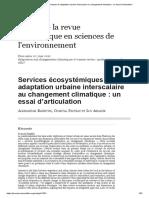 Services écosystémiques et adaptation urbaine interscalaire au changement climatique_ un essai d'articulation