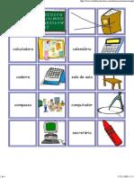 dominós do material escolar