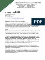 Delaware County (NY) Public Health 3-26 COVID 19 Press Release
