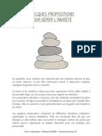 QUELQUES PROPOSITIONS POUR GÉRER L'ANXIÉTÉ