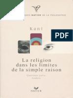 Kant - La religion dans les simples limites de la raison