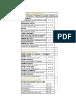 Lista de productos y precios EL CHINITO