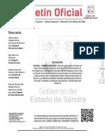 Decreto de Declaratoria de Emergencia Sanitaria en Sonora