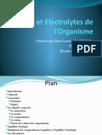 Liquides et Electrolytes de l'Organisme