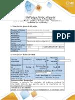Guía de actividades y rúbrica de evaluación – Momento 4 – Sintetizar los resultados