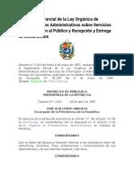 Reglamento Parcial de la Ley Orgánica de Procedimientos Administrativos sobre Servicios de Información al Público y Recepción y Entrega de Documentos
