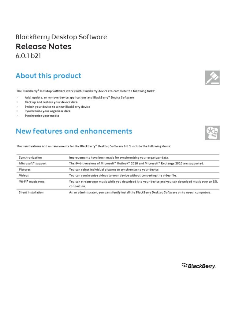BlackBerry Desktop Software Version 6 0 1 B21 Release Notes