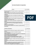 Internal Control Checklist for Cooperatives