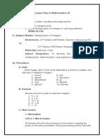 Integers Math VI COT -