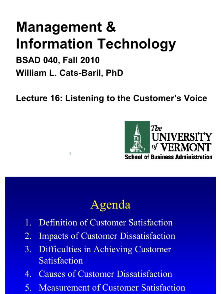 fa10 040 lecture 16 customers voice | customer satisfaction | economies