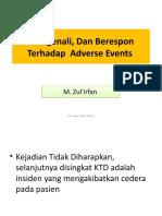 8. Mengenali, Dan Berespon Terhadap  Adverse Events