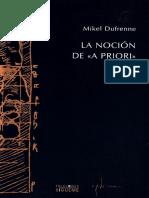 La Noción de A Priori - Mikel Dufrenne
