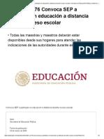 Boletín SEP No. 76 Participar en educación a distancia durante receso escolar
