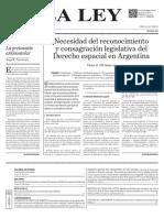 Necesidad del reconocimiento y consagración legislativa del Derecho espacial en Argentin