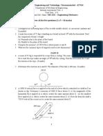 IAT 1  Engineering Mechanics Question and Key