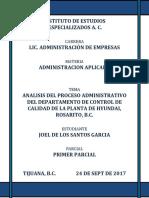 Proyecto 1, ANALISIS DEL PROCESO ADMINISTRATIVO DEL DEPARTAMENTO DE CONTROL DE CALIDAD DE LA PLANTA DE HYUNDAI.