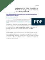 Datos Bursátiles Función GOOGLEFINANCE