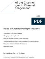 Role of the Channel Manager in Channel Management