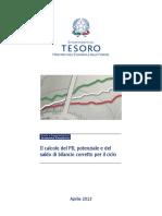 Il Calcolo Del PIL Potenziale e Del Saldo Di Bilancio Corretto Per Il Ciclo