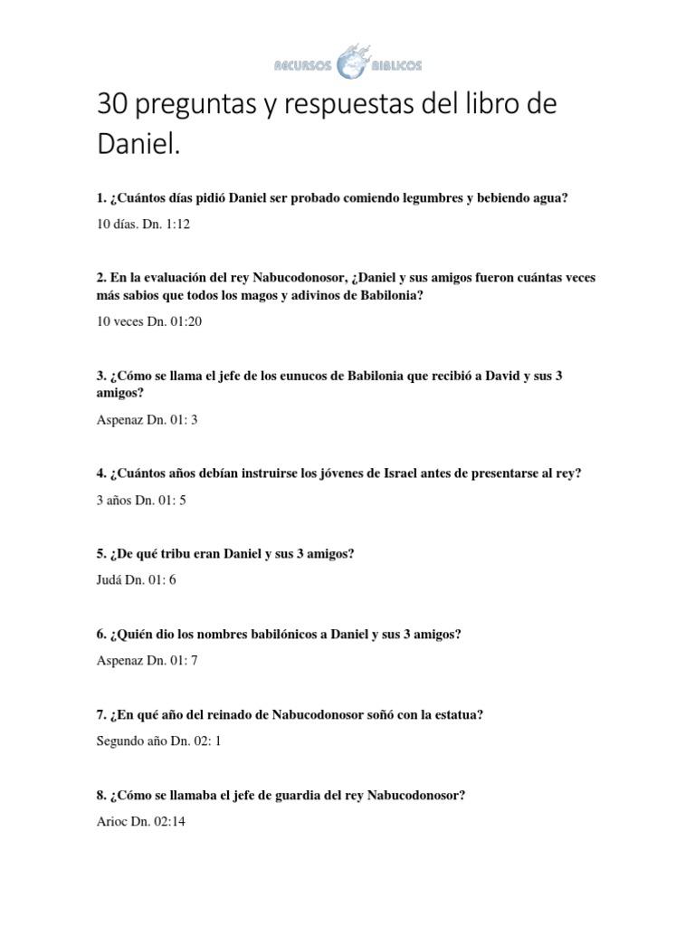 30 Preguntas Y Respuestas Del Libro De Daniel Pdf Daniel Figura Biblica Nabucodonosor Ii