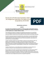Decreto de la Penitenciaría Apostólica relativo a la concesión de indulgencias especiales a los fieles en la actual situación de pandemia.pdf