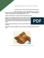 SUGESTÃO DO RITO DE ENTREGA DA PALAVRA DE DEUS