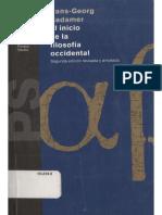 El Inicio de La Filosofía Occidental. Gadamer (1)