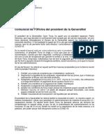 Comunicat del president Torra sobre les mesures de confinament