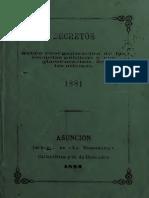 1881 - Reglamento - Reorganización - Escuelas Públicas - Paraguay - Educación