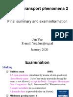 Final summary and exam information Physical Transport Phenomena 2 2019-2020.pptx
