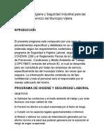 Programa de Higiene y Seguridad Industrial para las empresas de Servicio del Municipio Valera