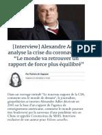 """[Interview] Alexandre Adler analyse la crise du coronavirus _ """"Le monde va retrouver un rapport de force plus équilibré"""" _ Valeurs actuelles"""
