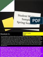 student writing samples-spring semester