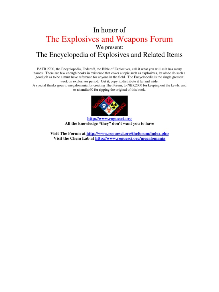 1f451410932f The Encyclopedia of Explosives and Related Items PATR 2700 VOLUME 2 ...