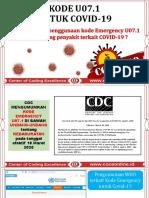 Penggunaan Kode Emergency U07.1 untuk koding penyakit terkait COVID-19