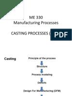 Manufacturing Processes - CASTING PROCESSES