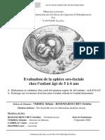Evaluation de la sphère oro-faciale chez l'enfant âgé de 5 à 6 ans