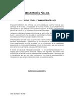 Declaración Pública Ingelagos Covid19