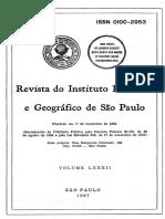 Revista Do Instituto Histórico e Geografico Do Estado de São Paulo