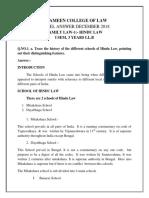 HINDU LAW 2018- DEC-1 Question Paper